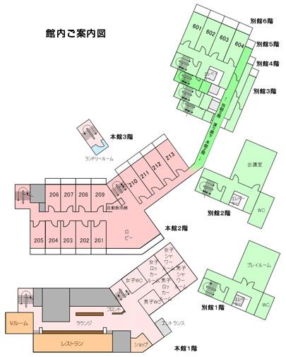 合宿や大会開催に最適なテニスコートとホテル、クラブヴェルデ(ClubVerde)の館内案内図